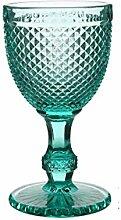 2 Weinglas bunt Vintage Relief Kelch Gravur Glas