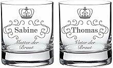 2 Whiskygläser im Set – Eltern der Braut – Personalisiert mit [NAMEN] – Tumbler Whiskyglas als Geschenkidee für Mama und Papa – Hochzeitsgeschenke