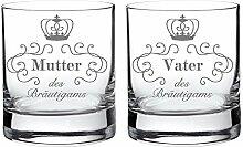 2 Whiskygläser im Set – Eltern des Bräutigams – Standard – Tumbler Whiskyglas als Geschenkidee für Mama und Papa – Hochzeitsgeschenke