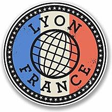 2 x 25cm/250mm Lyon Frankreich Fenster kleben Aufkleber Auto Van Wohnmobil Glas #9850