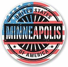 2 x 25cm/250mm Minneapolis Minnesota USA Fenster kleben Aufkleber Auto Van Wohnmobil Glas #6072