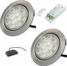2 x 3W LED MöbelEinbauleuchten 12V super flach