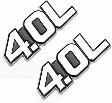 2 x 4,0 l Buchstaben Logo Trim Abzeichen Metall
