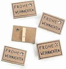 2 x 5 Weihnachten Deko-Klammer Holzklammer FROHE