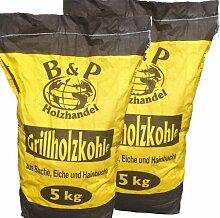2 x 5kg Sack Holzkohle im Karton (1,69€/kg)