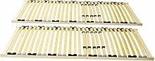 2 x 7-Zonen Lattenrost 90 x 200 cm starr Härtegrad einstellbar aus Holz