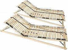 2 x 7-Zonen Premium-Lattenrost 90x200 cm, 42 Leisten, Kopf- und Fußteil verstellbar, Härtegradanpassung
