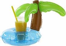 2 x aufblasbarer Getränkehalter Palme f. Getränkedosen/Kunststoffbecher Ø 22 cm, Kinder, Geschenk, Sommer