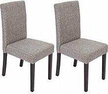 2 x Esszimmerstuhl Stühle Stuhlset Textil modern günstig grau dunkle Beine neu