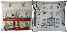 2 x Evans Lichfield Weihnachten verschneit Haus & Geschäft Hergestellt in Großbritannien Kissenbezüge 17