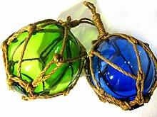 2 X Fischerkugeln im Netz- blau und grün- Maritime Deko- 12,5