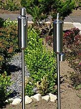 2 x Gartenfackel Ölfackel Edelstahl Fackeln XXL 120 cm rostfrei wetterfest - Garten Fackel in Premium Qualität, mit Metallerdspieß, weitere Gartenfackeln erhältlich