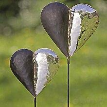 2 x Gartenstab Herz Eisen silber Höhe 116 u. 121 cm, Gartenstecker, Gartendeko, Heart, Garden bar