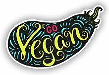 2 x Go Vegan Vinyl-Aufkleber für Reisegepäck,