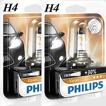 2 x H4 Philips Vision 30% mehr Licht Halogen Lampen Birnen 12V 55W B1 Lampe NEU