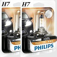 2 x H7 Philips Vision 30% mehr Licht Halogen Lampen Birnen 12V 55W B1 Lampe NEU