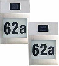 2 x Hausnummerleuchten Solarwandleuchten mit
