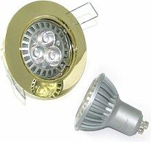 2 x High Power LED Einbauleuchte Strahler Jenny Farbe gold 230V 5 Watt in Tageslichtweiß