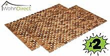 2 x Holzbadematten | Rutschfester Badvorleger | Robuste Badematte | Holzmatte für Badezimmer, Bad, Sauna & Wellnessbereich| Badteppich aus 100% Akazienholz | WohnDirect – 50 cm x 80 cm