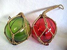 2 X kleine Fischerkugeln im Netz- rot und grün - Maritime Deko- 5 cm