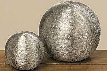2 x Kugel Perla Steingut silber Ø 10-16 cm, Gartendeko, Dekokugel
