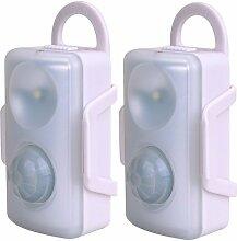 2 x LED Nachtlichter mit Bewegungsmelder Wandhalterung