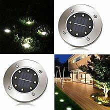2 x LED Solar Leuchte außen Garten Solarleuchte Bodenleuchte Edelstahl Außenleuchte Wasserdicht 100LM Dämmerungsschalter Erdspieß Solar für Rasen Hof Auffahrt Warmweiß