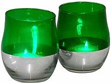 2 x LED Windlicht Grün Teelicht Flackerkerze
