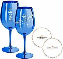 2 x Moet & Chandon Champagnerglas Blau Ibiza