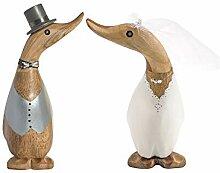 2 x Naturholz Ente Brautpaar Höhe 18 cm