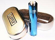 2x Original Blau Türkis Metallic Metall Clipper