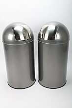 2 x point-home Mülleimer Abfalleimer Push Bin 52 L Stahl graphit lackier