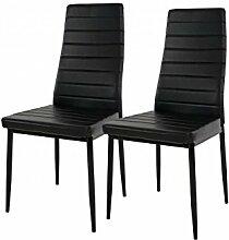 2 x Stühle Kunstleder schwarz Esszimmer modern design Stuhlset günstig Küche