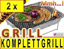 2 x Vielseitiger Minigrill MIT HOLZKOHLE +