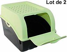 2 x Vorratsdose für Kartoffeln, Gemüse, Obst, Zwiebeln, Aufbewahrungsbox, Kunststoff, Volumen von 7,7 Liter, Größe ca. 29 x 19 x 19 cm (L x H x B) (Set 2 Boxen) (Hellgrün/Schwarz)
