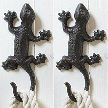 2 x Wandhaken Salamander aus Gusseisen L 18 cm -