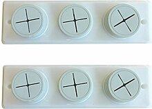 2x Weiß selbstklebend und Schraube auf Push In