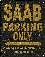 20,3x 25,4cm Saab Parking Sign Rustikaler Stil 20,3x 25,4cm 20x 25cm Auto Schuppen Dose Garage Werkstatt Art Wand