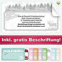 20 Aufkleber / Etiketten / Sticker | Frohe Weihnachten – Winterlandschaft mit Rentier | Rechteckig | 66 x 35 mm | Pastel-Grau | C00040-03-BS | inkl. Beschriftungs-Service | CuteLove & Head-Bea