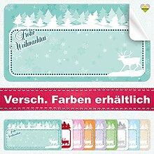 20 Aufkleber / Etiketten / Sticker | Frohe Weihnachten – Winterlandschaft mit Rentier | Rechteckig | 66 x 35 mm | Pastel-Türkies | C00040-09 | Ohne Beschriftung! | CuteLove & Head-Bea