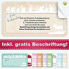 20 Aufkleber / Etiketten / Sticker | Frohe Weihnachten – Winterlandschaft mit Rentier | Rechteckig | 66 x 35 mm | Pastel-Beige | C00040-01-BS | inkl. Beschriftungs-Service | CuteLove & Head-Bea