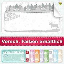 20 Aufkleber / Etiketten / Sticker | Frohe Weihnachten – Winterlandschaft mit Rentier | Rechteckig | 66 x 35 mm | Pastel-Grau | C00040-03 | Ohne Beschriftung! | CuteLove & Head-Bea