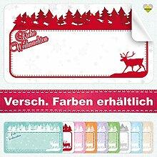 20 Aufkleber / Etiketten / Sticker | Frohe Weihnachten – Winterlandschaft mit Rentier | Rechteckig | 66 x 35 mm | xMas-Rot | C00040-08 | Ohne Beschriftung! | CuteLove & Head-Bea