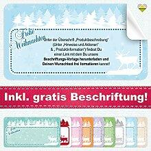 20 Aufkleber / Etiketten / Sticker | Frohe Weihnachten – Winterlandschaft mit Rentier | Rechteckig | 66 x 35 mm | Pastel-Blau | C00040-02-BS | inkl. Beschriftungs-Service | CuteLove & Head-Bea