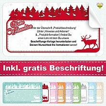 20 Aufkleber / Etiketten / Sticker | Frohe Weihnachten – Winterlandschaft mit Rentier | Rechteckig | 66 x 35 mm | xMas-Rot | C00040-08-BS | inkl. Beschriftungs-Service | CuteLove & Head-Bea