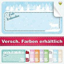 20 Aufkleber / Etiketten / Sticker | Frohe Weihnachten – Winterlandschaft mit Rentier | Rechteckig | 66 x 35 mm | Pastel-Blau | C00040-02 | Ohne Beschriftung! | CuteLove & Head-Bea