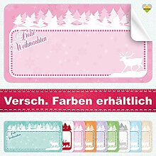 20 Aufkleber / Etiketten / Sticker | Frohe Weihnachten – Winterlandschaft mit Rentier | Rechteckig | 66 x 35 mm | Pastel-Rosa | C00040-07 | Ohne Beschriftung! | CuteLove & Head-Bea