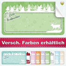 20 Aufkleber / Etiketten / Sticker | Frohe Weihnachten – Winterlandschaft mit Rentier | Rechteckig | 66 x 35 mm | Pastel-Grün | C00040-04 | Ohne Beschriftung! | CuteLove & Head-Bea