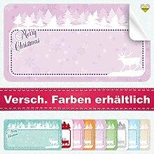 20 Aufkleber / Etiketten / Sticker | Merry Christmas – Winterlandschaft mit Rentier | Rechteckig | 66 x 35 mm | Pastel-Flieder | C00038-05 | Ohne Beschriftung! | CuteLove & Head-Bea