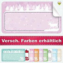 20 Aufkleber / Etiketten / Sticker | Winterlandschaft mit Rentier | Rechteckig | 66 x 35 mm | Pastel-Flieder | C00037-05 | Ohne Beschriftung! | CuteLove & Head-Bea